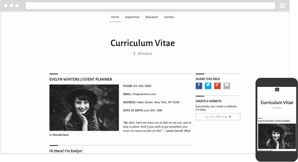 Mobile responsive template for a Curriculum Vitae website
