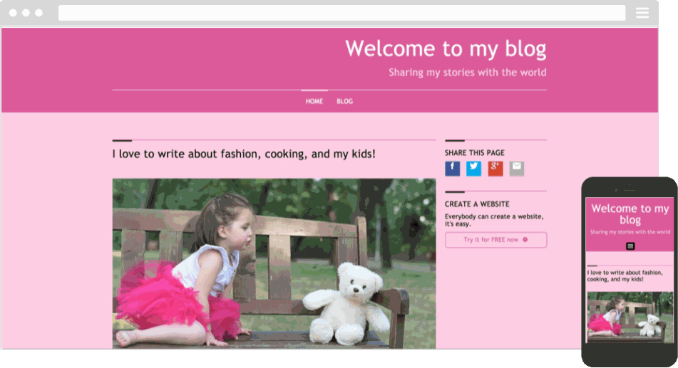 Mobile responsive template for a kids blog